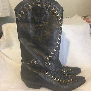 Sesto Meucci Tall Leather Black Gold Boots 8N